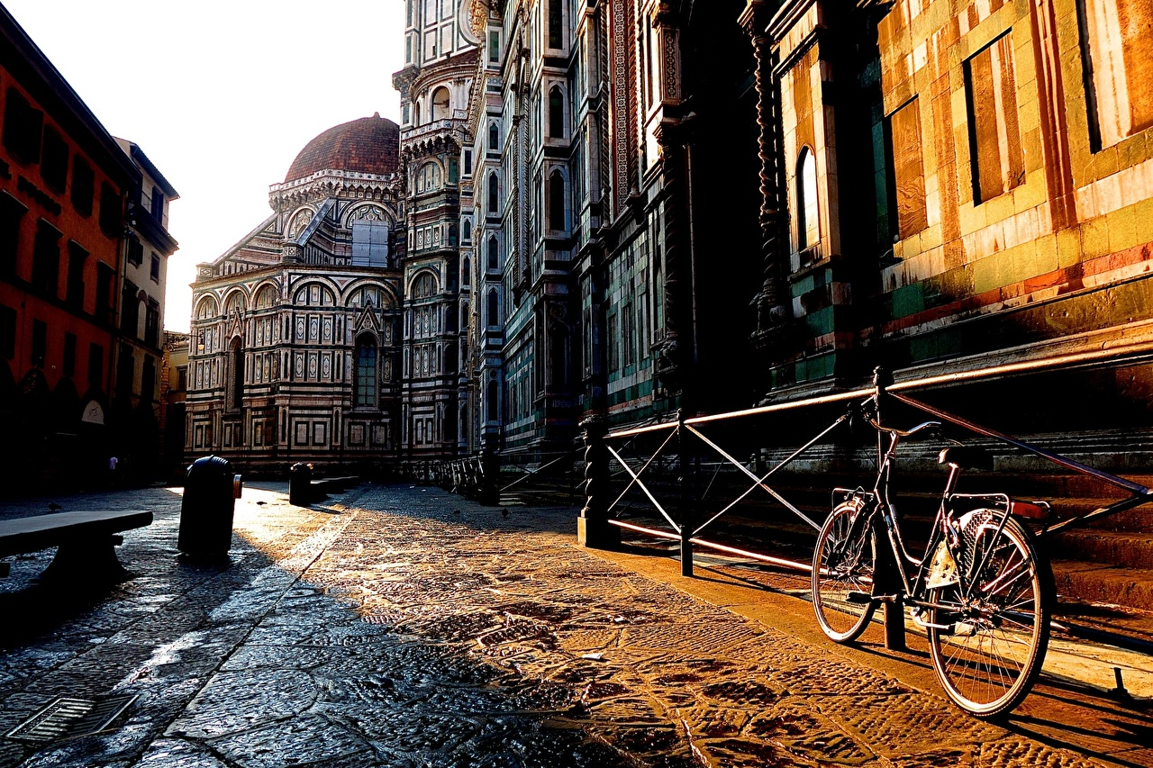Обои тротуар, здания, свет. Города foto 12