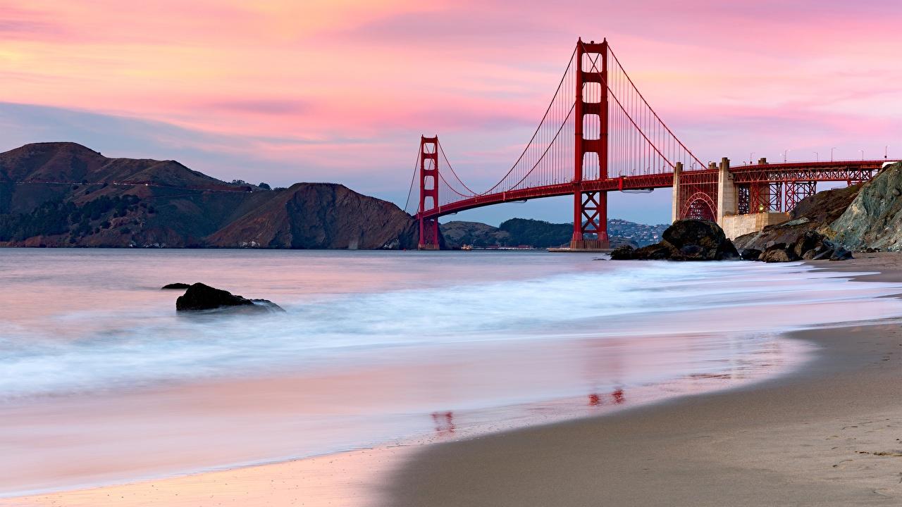 Фотография Сан-Франциско США Golden Gate Bridge мост Природа залива штаты америка Мосты Залив заливы
