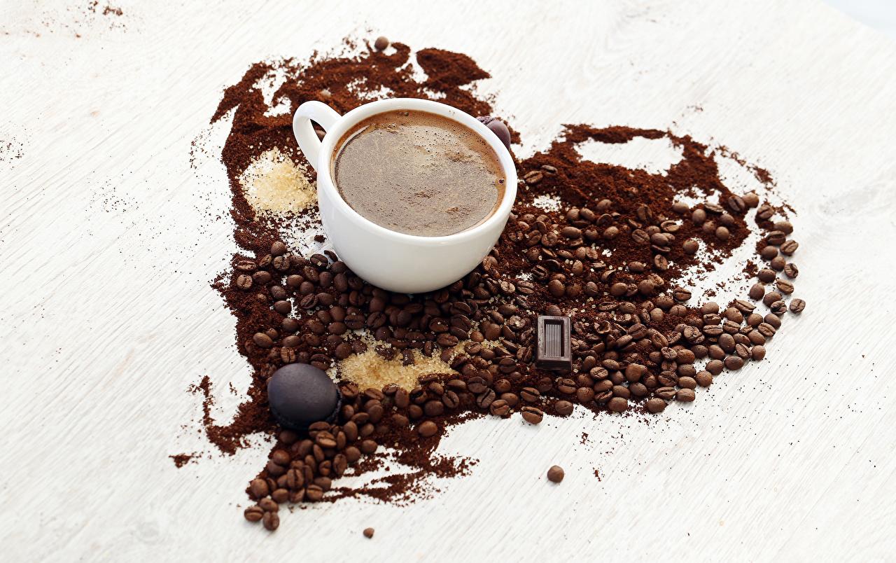 Фотография сердечко Шоколад Кофе Зерна Чашка Продукты питания Сердце Еда Пища