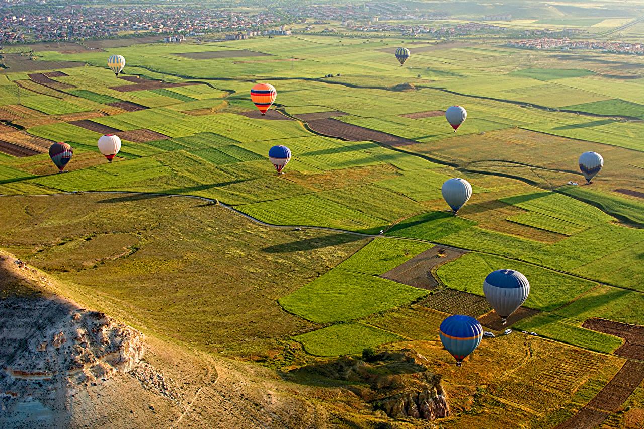 Фотографии Турция Аэростат Cappadocia Природа Поля Парки Воздушный шар