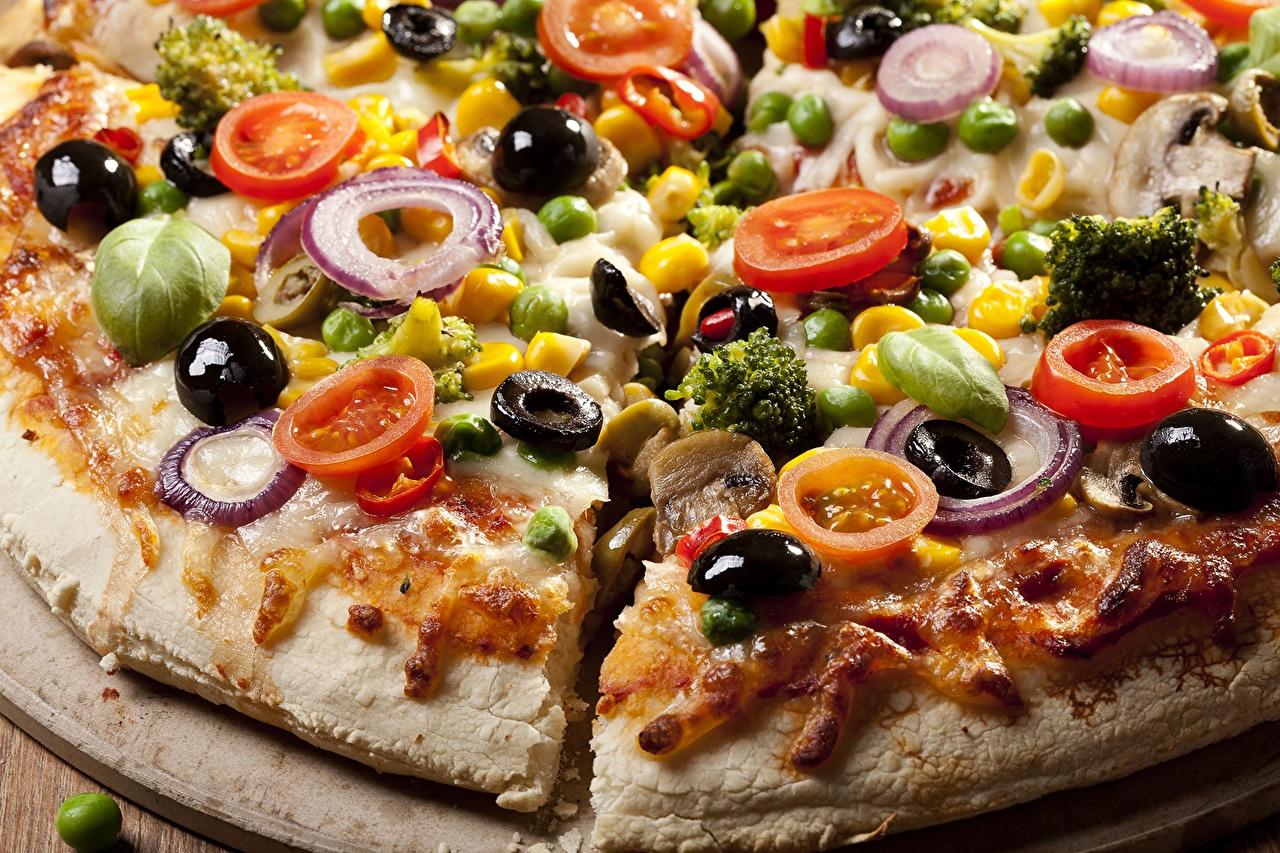Фото Пища Пицца Оливки вблизи Еда Продукты питания Крупным планом