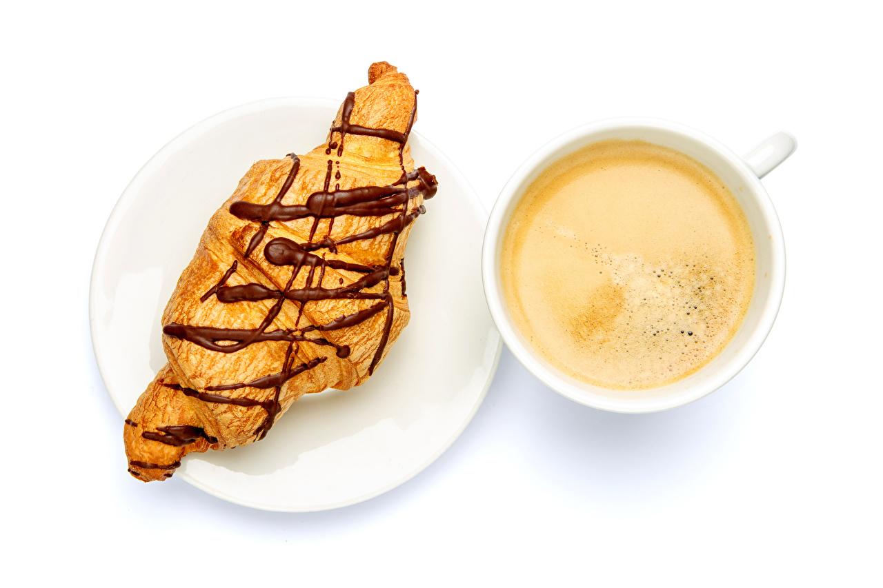 Фотографии Кофе Круассан Чашка тарелке Продукты питания белом фоне Еда Пища чашке Тарелка Белый фон белым фоном