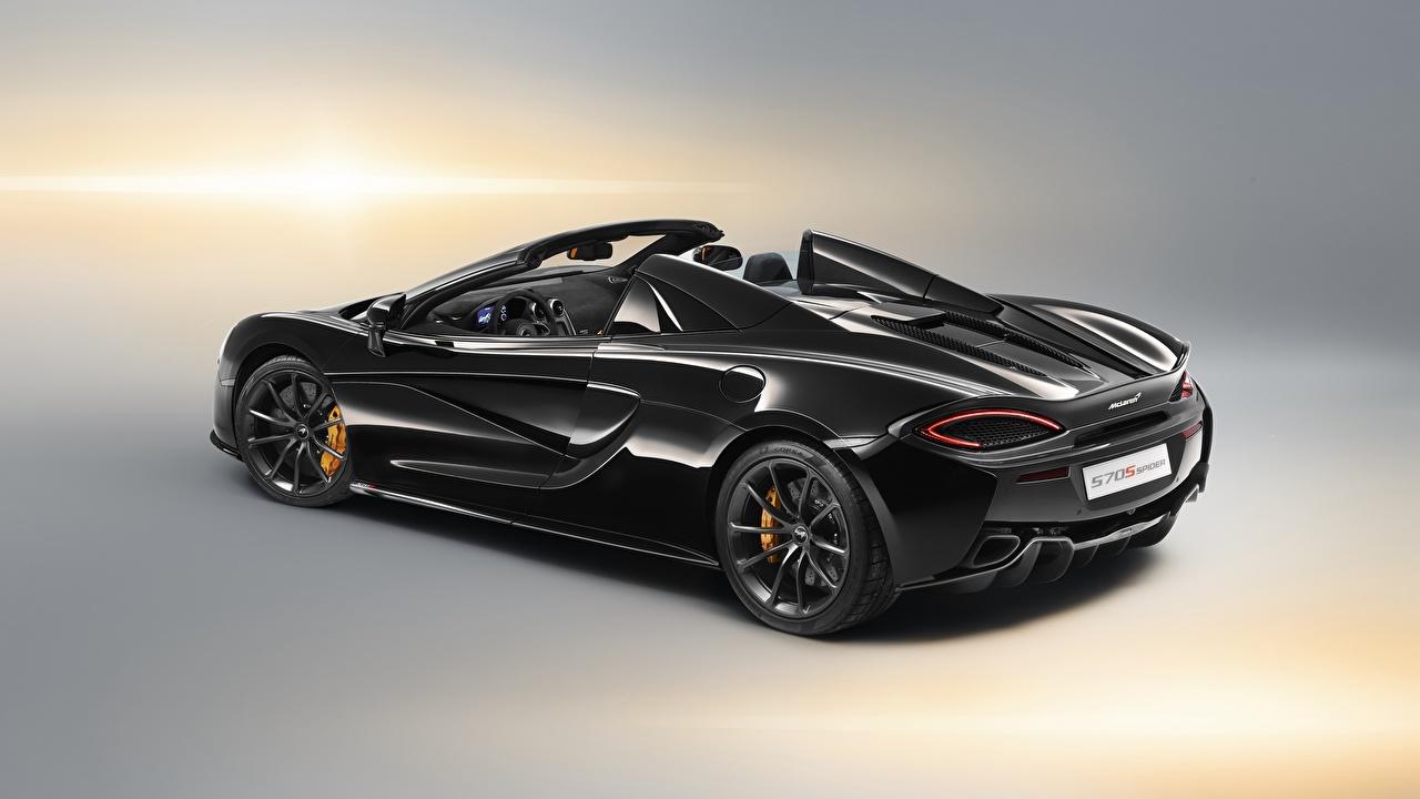 Фотографии McLaren 2018, 570S, Design Edition Родстер черных Авто Макларен Черный черные черная Машины Автомобили