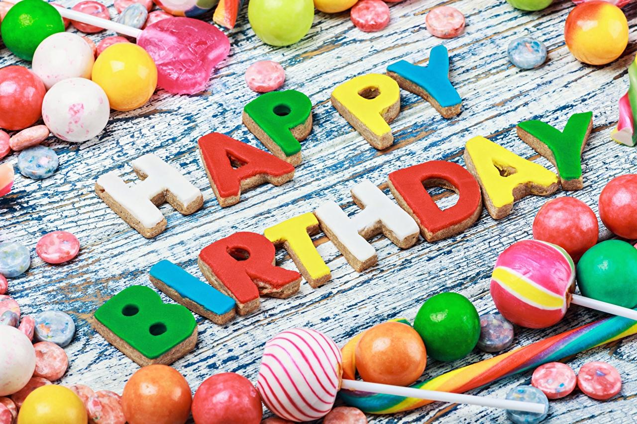Обои День рождения Английский Конфеты Слово - Надпись Пища Сладости Еда Продукты питания