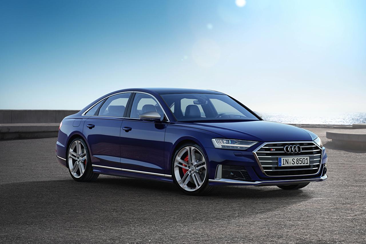 Фото Ауди 2019 S8 Worldwide (D5) Синий Металлик Автомобили Audi синих синие синяя авто машина машины автомобиль