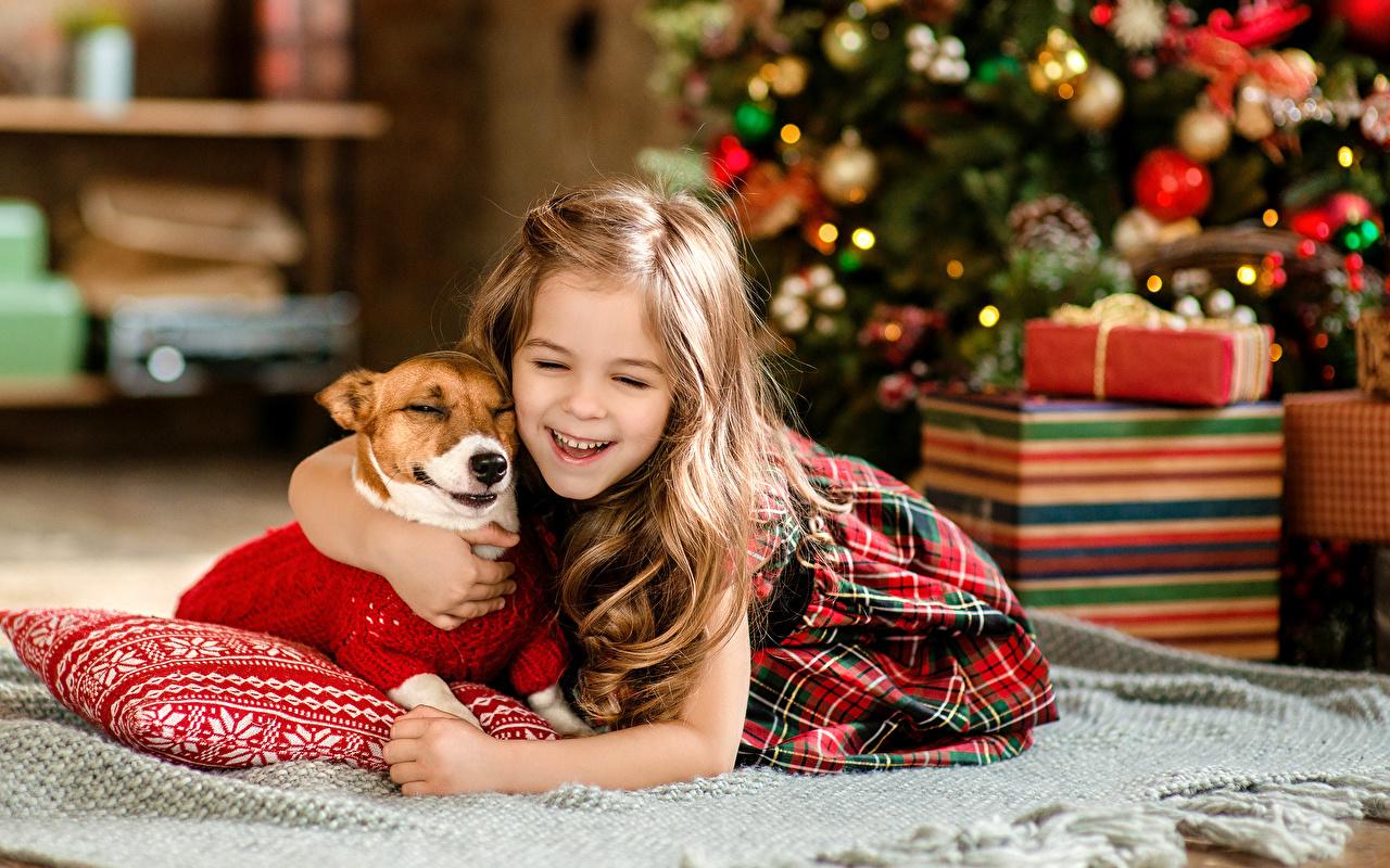 Обои Девочки Собаки Новый год Смех Радость Дети девочка собака Рождество смеется счастье смеются радостная радостный счастливая счастливые счастливый ребёнок