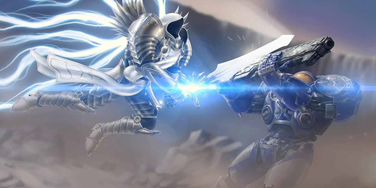 Картинка Diablo III StarCraft 2 Heroes of the Storm Мечи доспехе Tyrael vs Tychus компьютерная игра битва Diablo 3 меч меча броня броне с мечом Доспехи доспехах Игры Битвы сражения