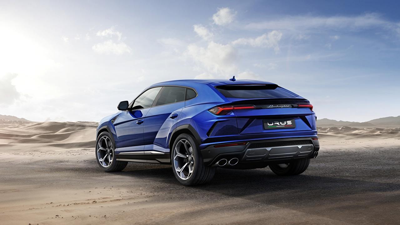 Фотографии Ламборгини Urus 2018 Off Road Синий вид сзади автомобиль Lamborghini синих синие синяя авто Сзади машина машины Автомобили