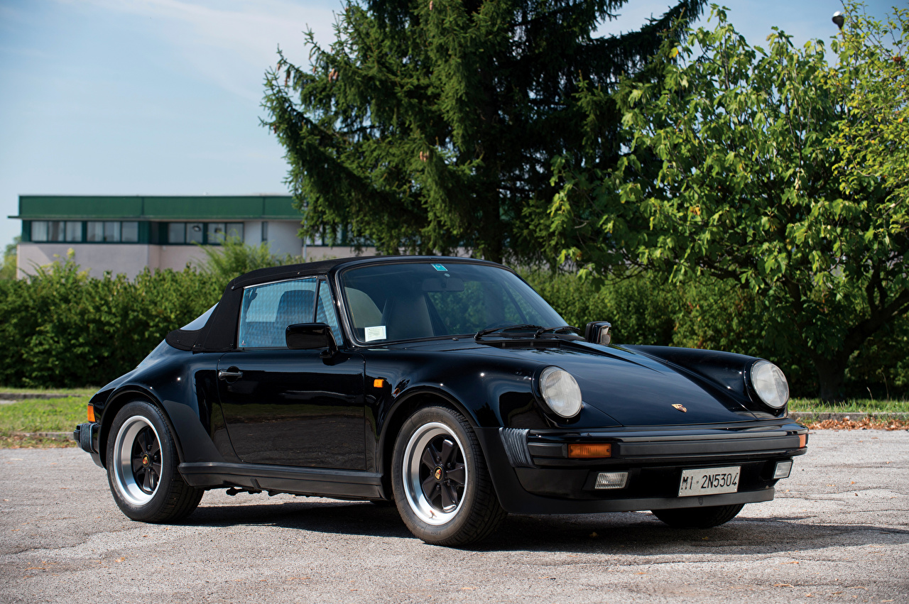 Фотография Порше 1986-89 911 Carrera 3.2 Cabriolet Turbolook Ретро черная Металлик Автомобили Porsche черных черные Черный винтаж старинные авто машина машины автомобиль