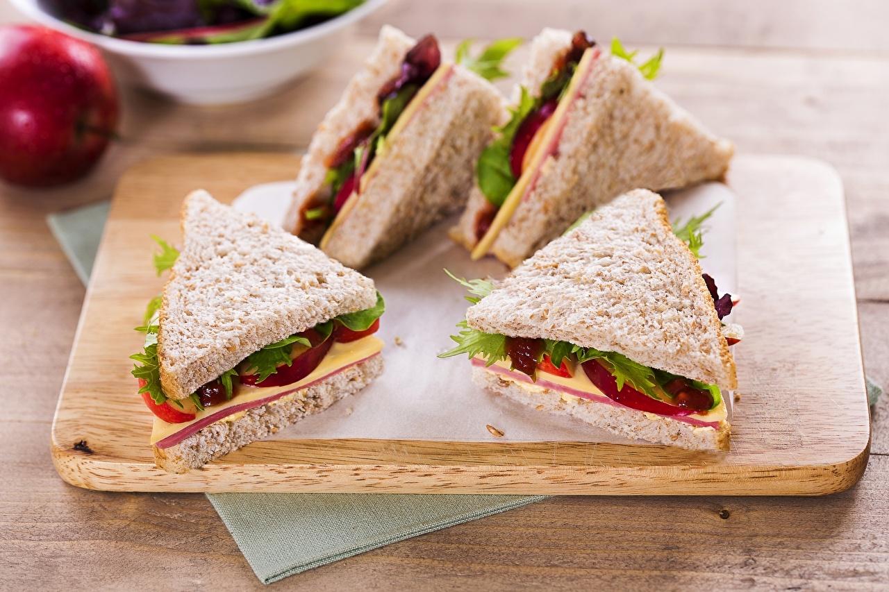 Картинка Продукты питания Колбаса Хлеб Сыры Фастфуд Бутерброды Сэндвич Еда Пища бутерброд Быстрое питание
