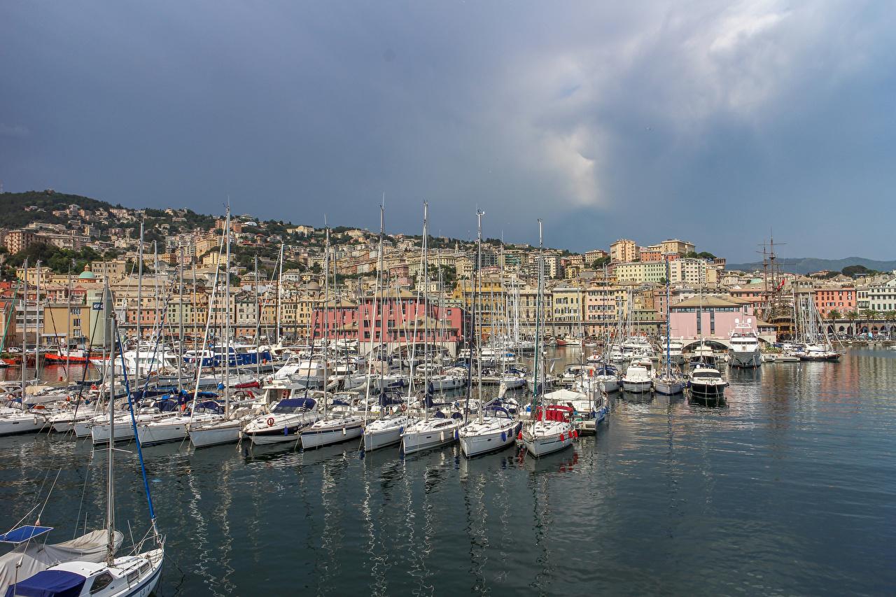 Обои для рабочего стола Италия Genova Яхта Залив Причалы Парусные Города Здания Пирсы залива заливы Пристань Дома город