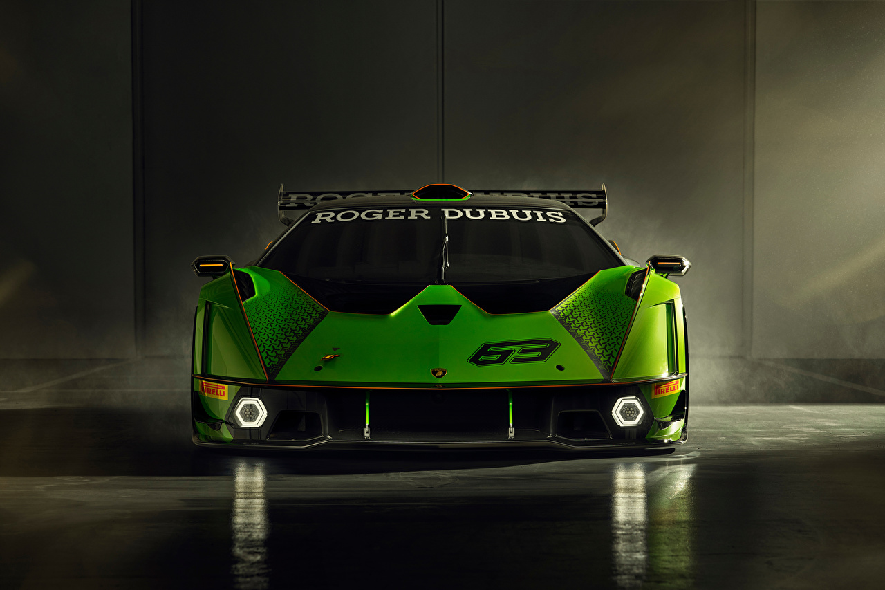 Картинки Ламборгини Essenza SCV12, 2020 зеленые машина Спереди Lamborghini зеленая Зеленый зеленых авто машины Автомобили автомобиль