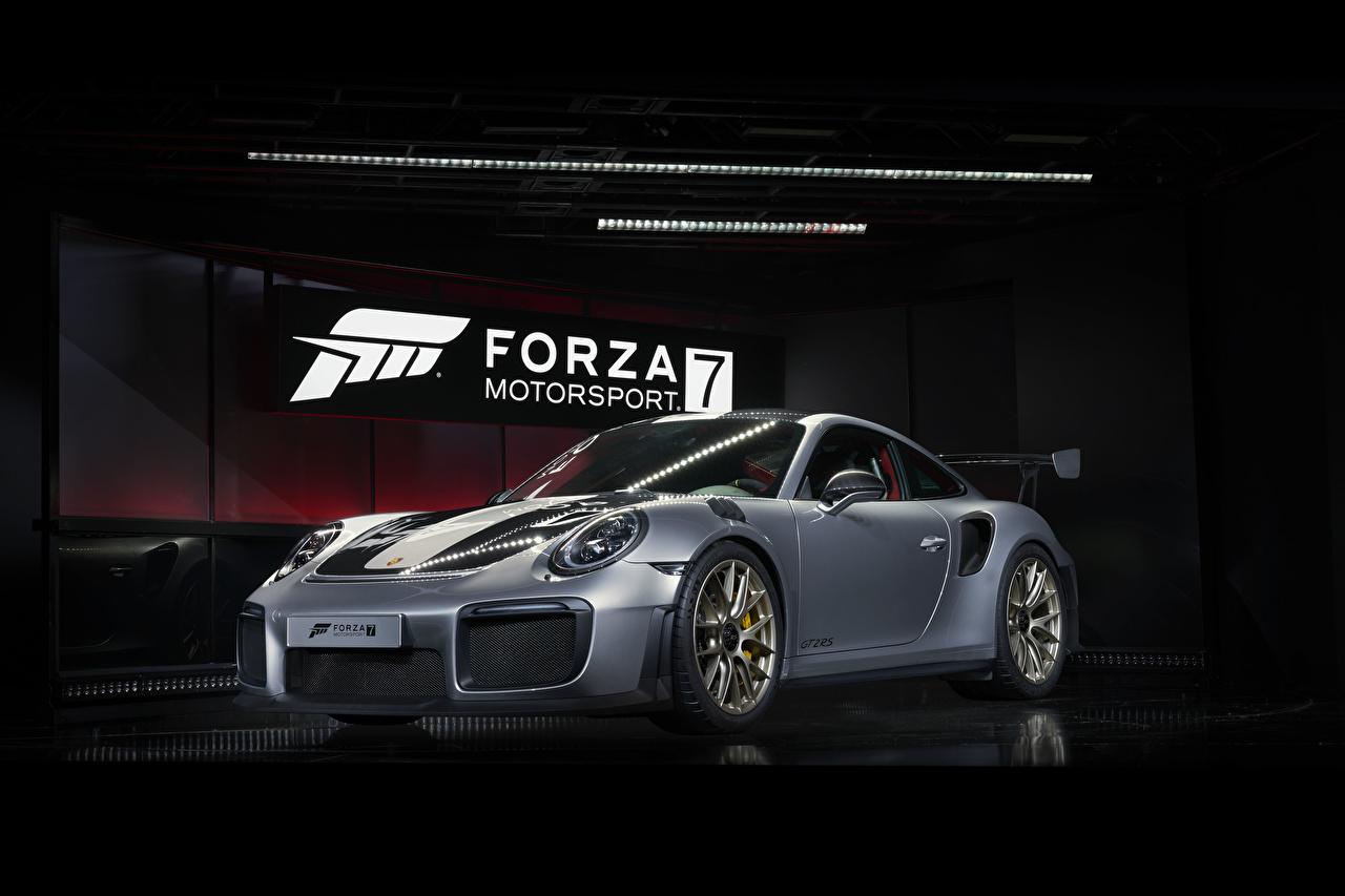 Обои для рабочего стола Forza Motorsport 7 Porsche 911 GT2 RS серые Игры Порше Серый серая компьютерная игра