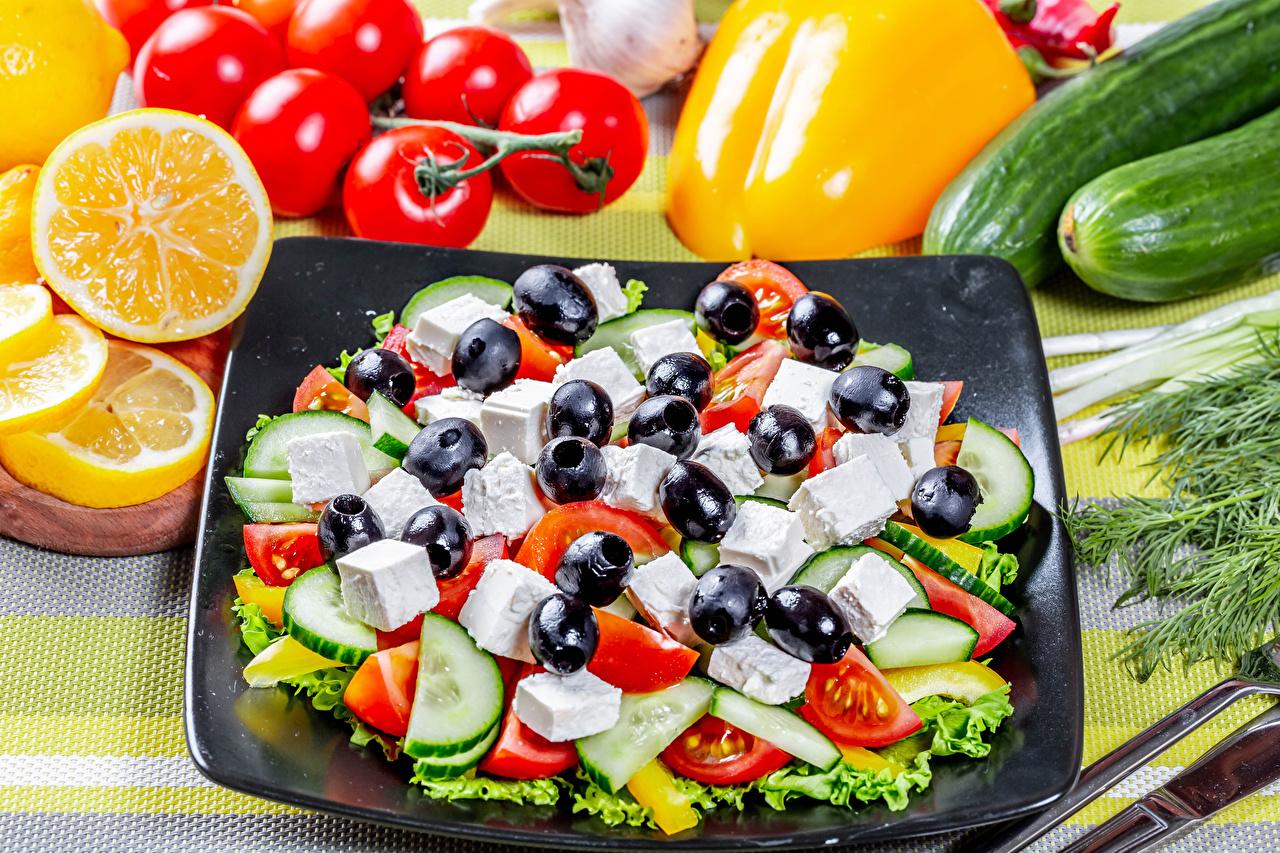 Картинка Оливки Огурцы Апельсин Помидоры Овощи Салаты Продукты питания Томаты Еда Пища