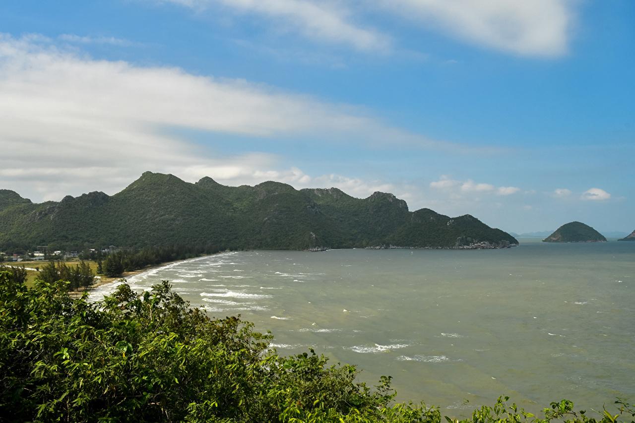 Картинки Таиланд Phrayanakhon Cave Море Горы Природа Тропики Побережье берег
