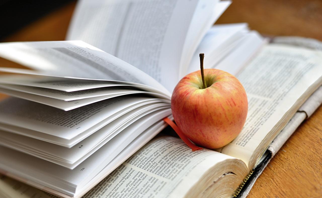 Картинка Яблоки Книга Продукты питания Еда Пища книги