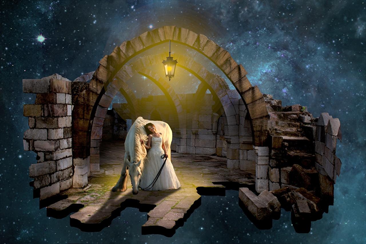 Фотографии Лошади Фонарь арки Фэнтези молодые женщины Животные платья лошадь фонари Арка девушка Девушки Фантастика молодая женщина животное Платье