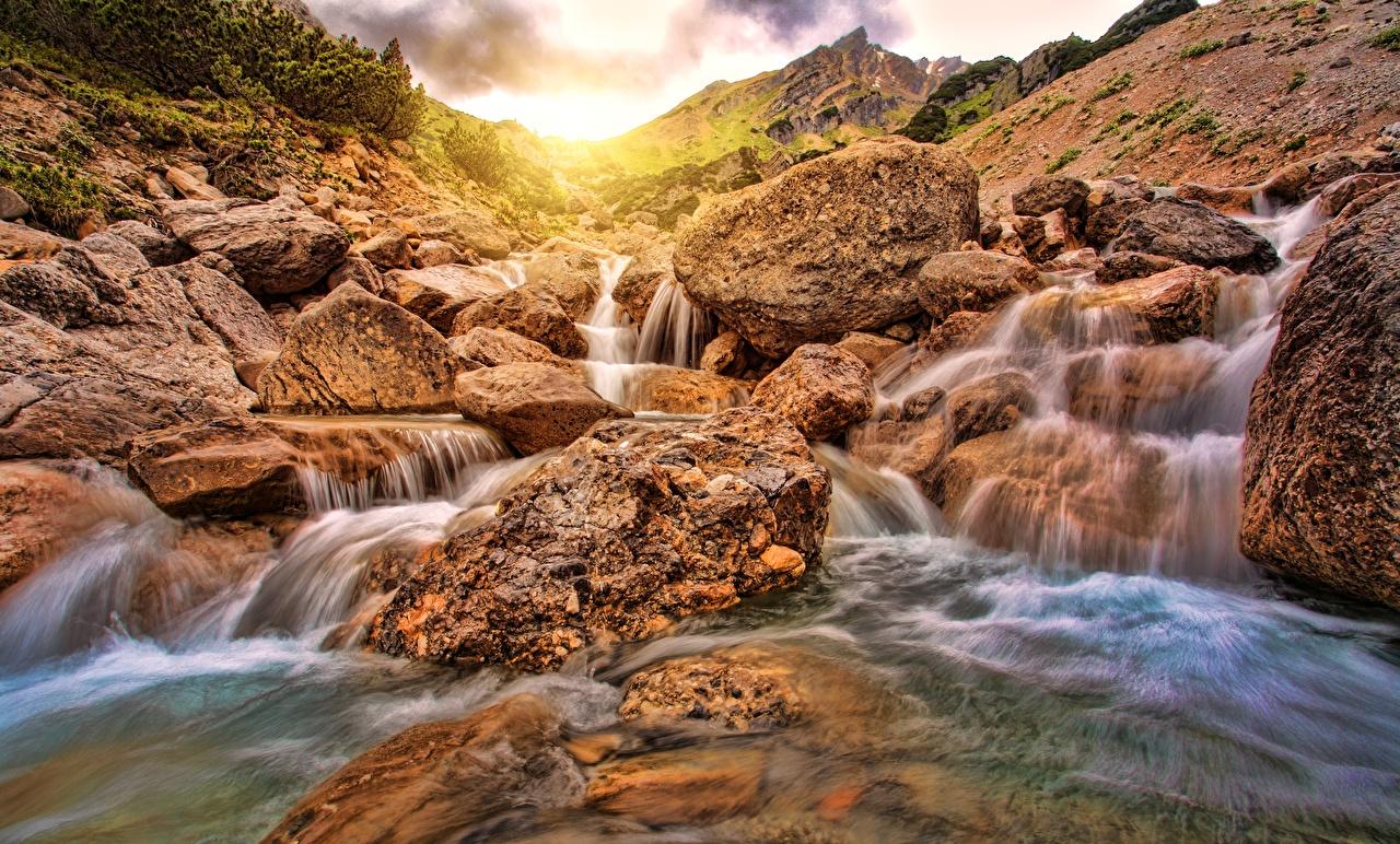 Фотографии Природа Водопады Реки Камень Камни речка