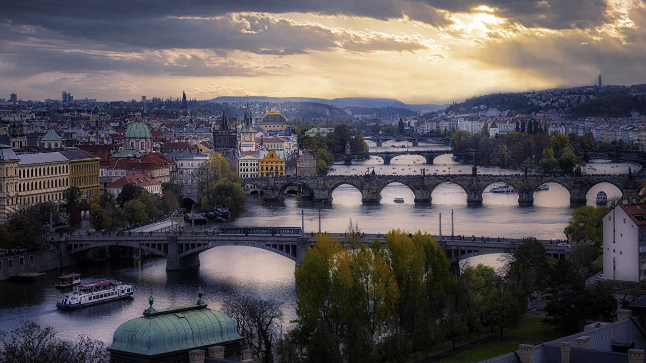Фотографии Прага Чехия Мосты река Дома город мост Реки речка Здания Города