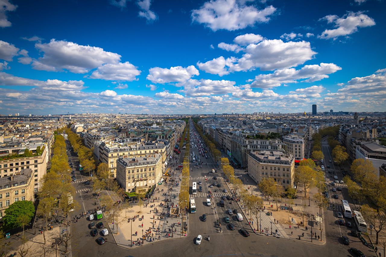 Обои для рабочего стола париже Франция Place Charles de Gaulle Небо Улица Сверху город Здания облачно Париж улиц улице Дома Облака облако Города