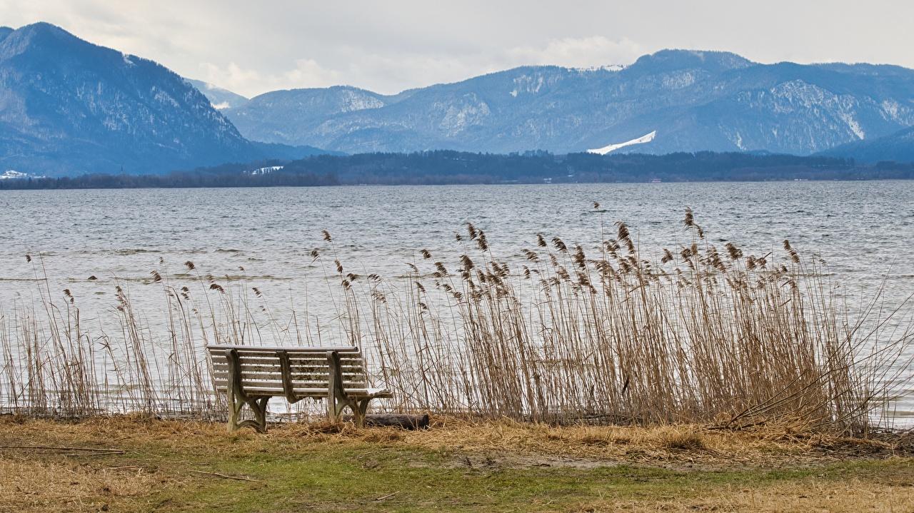 Фотография Бавария Германия Chiemgau гора Природа Озеро Трава Скамейка Горы траве Скамья