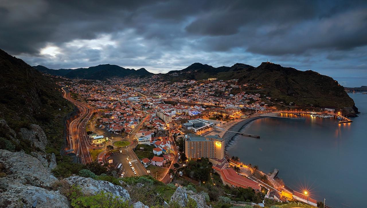 Фото Португалия Madeira, Machico Bay Океан Вечер Сверху Побережье Дома Города берег город Здания