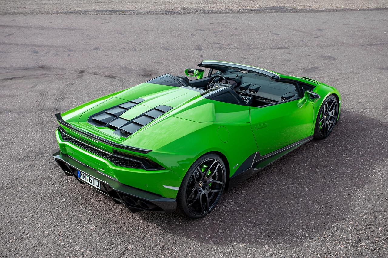 Фото Lamborghini Huracan Spyder Novitec Torado Зеленый Машины Ламборгини Авто Автомобили