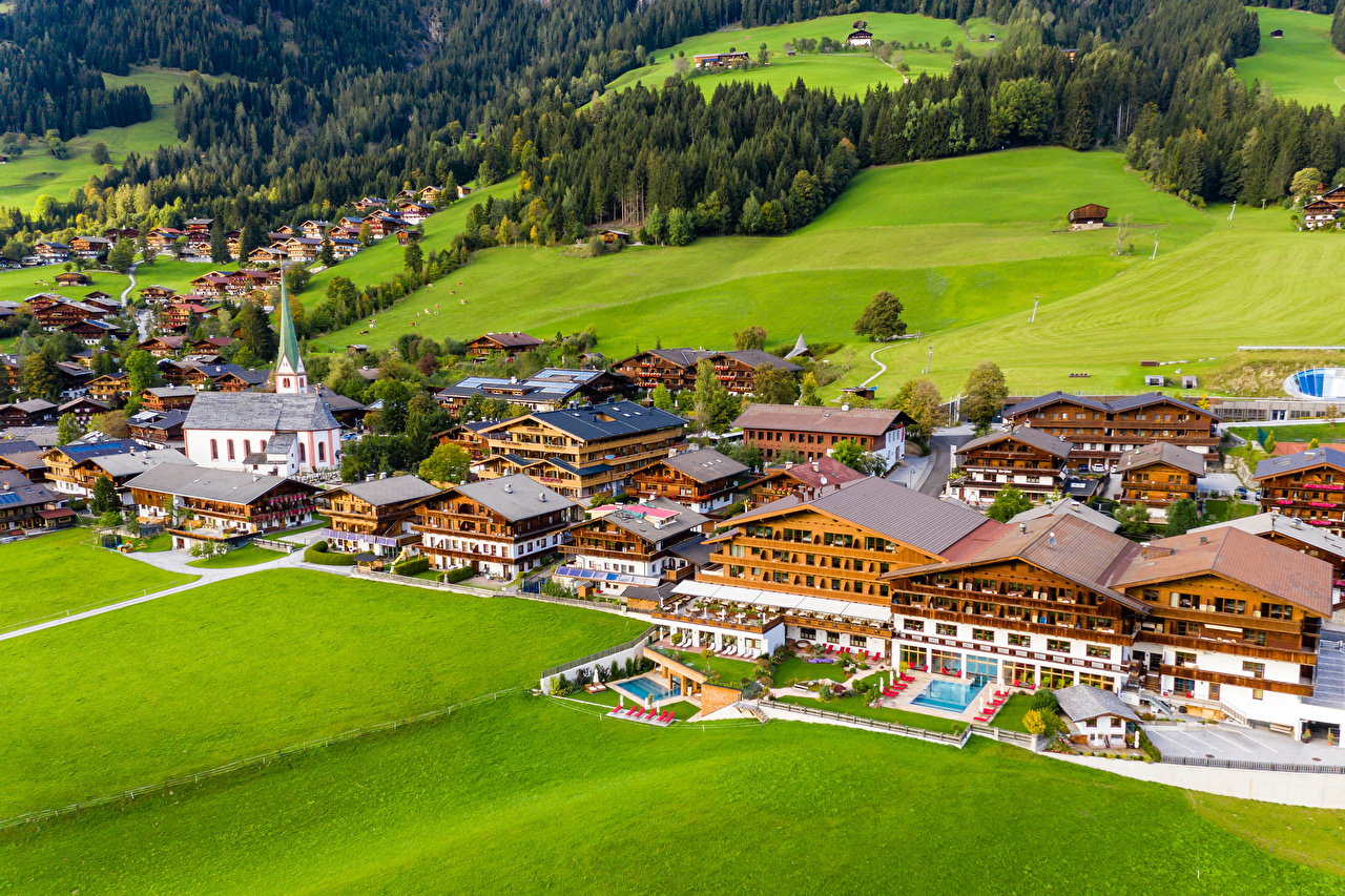 Фотография Австрия Alpbach улиц Сверху Дома Города улице Улица город Здания