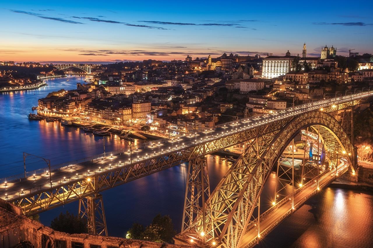 Фотография Порту Португалия Vila Nova de Gaia Dom Luís I Bridge Мосты река Вечер Дома город Портус Кале Реки речка Города Здания