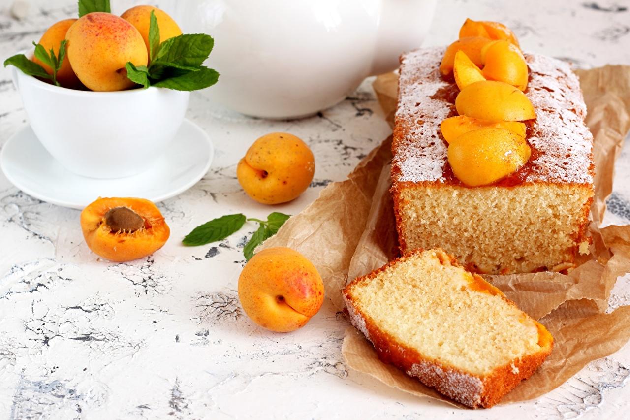 Картинка Кекс Абрикос часть Пища Кусок Еда Продукты питания