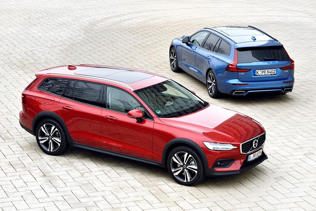 Картинка авто Вольво 2018-19 V60 Двое Металлик Универсал машина машины автомобиль Автомобили Volvo 2 два две вдвоем