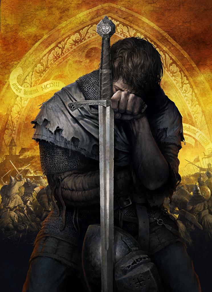 Картинка Kingdom Come: Deliverance Мечи Доспехи Воители Henry Фэнтези Игры броня воины Фантастика