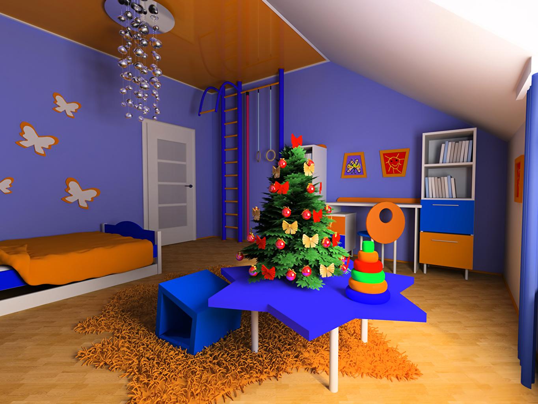 Фотографии Детская комната Рождество 3D Графика Новогодняя ёлка Интерьер Стол Люстра Кровать Дизайн Новый год Елка