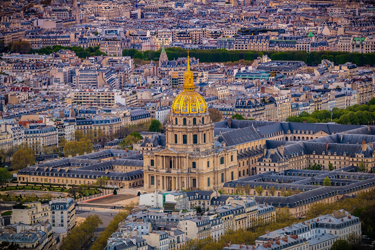Фотография Париж Франция Montmartre Сверху город Здания париже Дома Города
