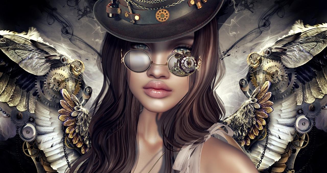 Картинки паропанк Девушки 3D Графика Фантастика Ангелы Очки Стимпанк Фэнтези