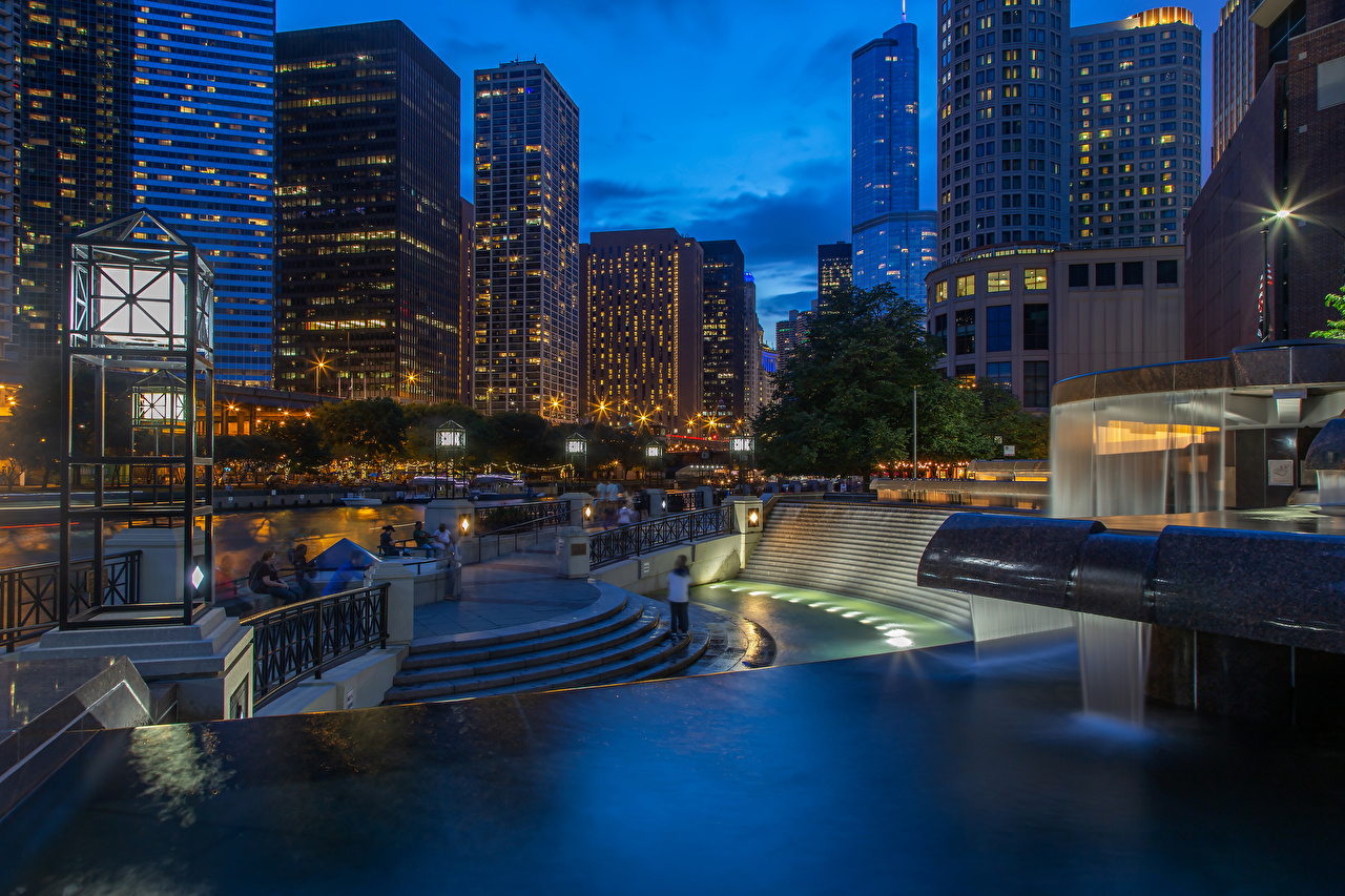Фотография Чикаго город штаты Лестница Вечер Уличные фонари Города Здания США Дома
