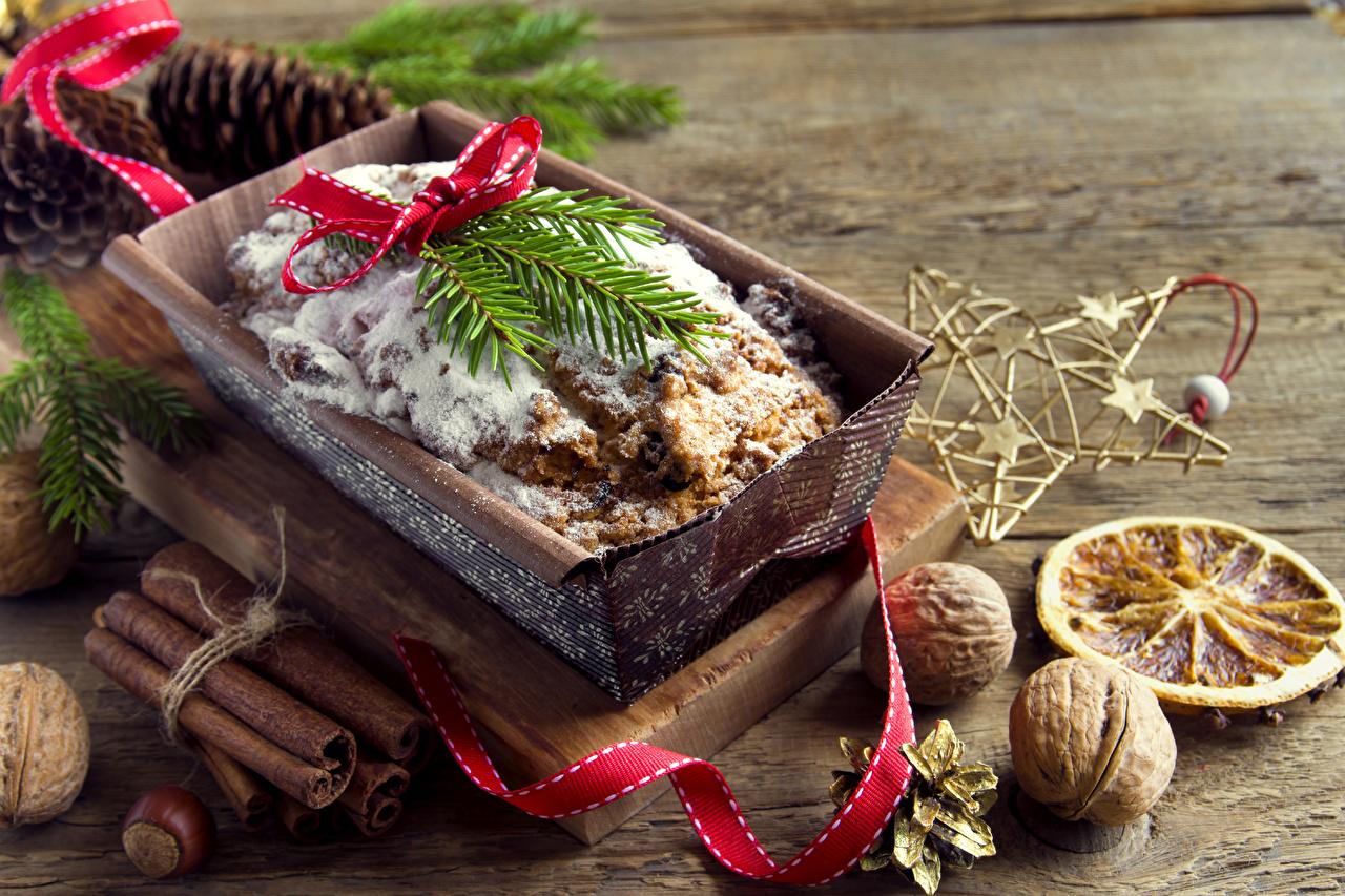 Обои Новый год Корица Пища ленточка Орехи Выпечка Рождество Еда Лента Продукты питания