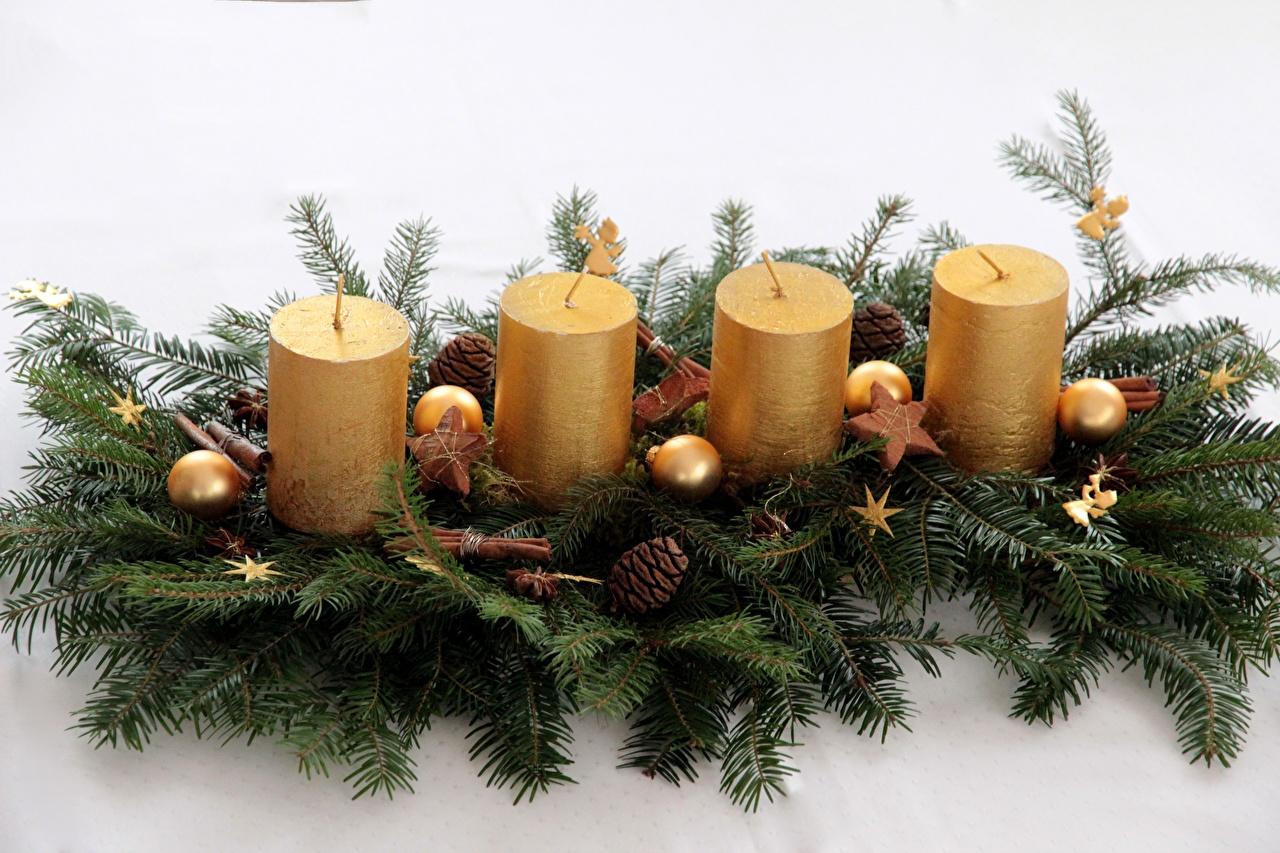 Фотография Рождество Шар Шишки Ветки Свечи Новый год шишка ветвь ветка Шарики на ветке