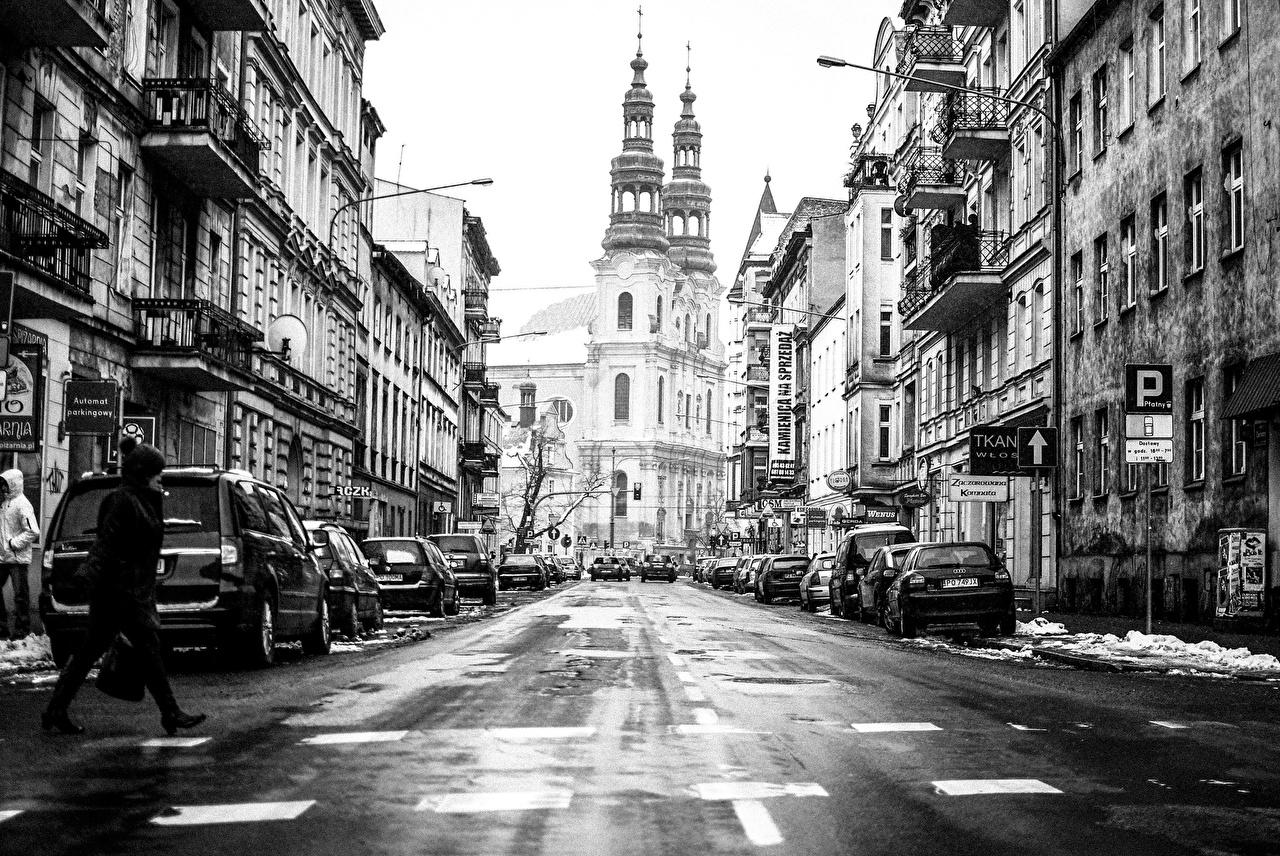 Фотографии Польша Poznan улиц Дороги город Здания улице Улица Дома Города