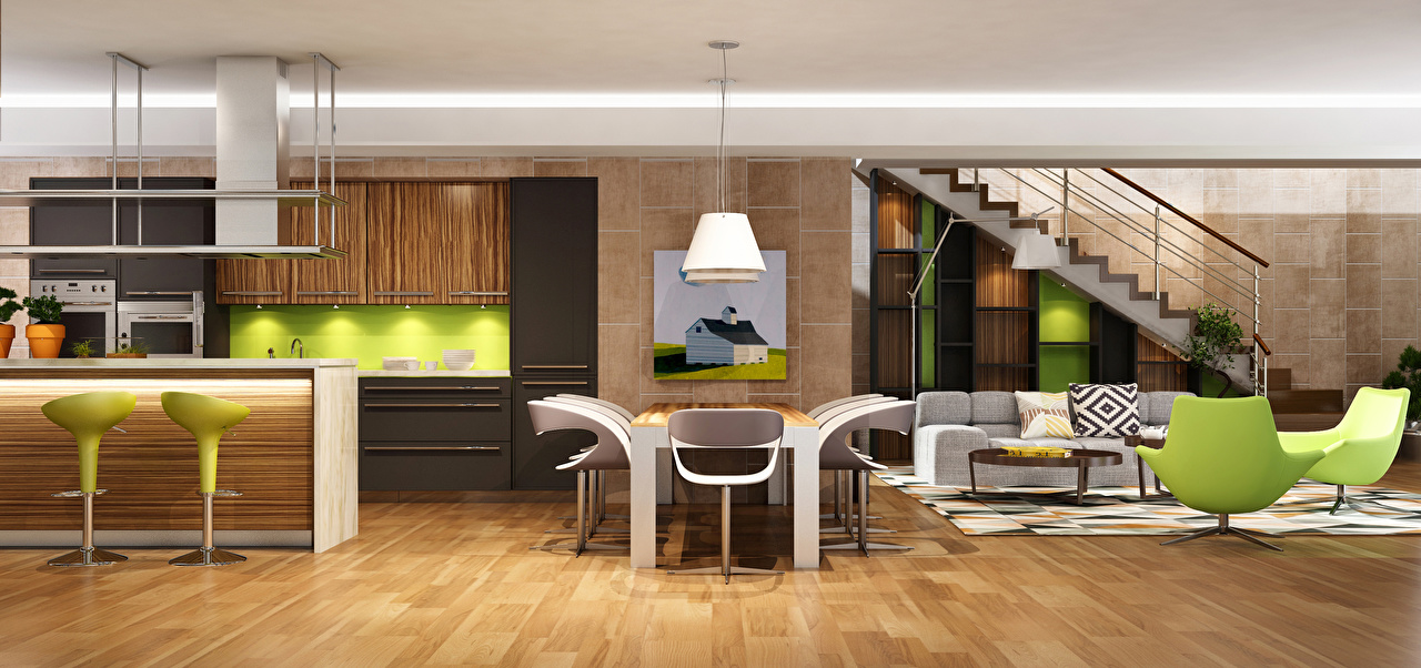 Обои Гостиная Интерьер Стол Диван Кресло Дизайн