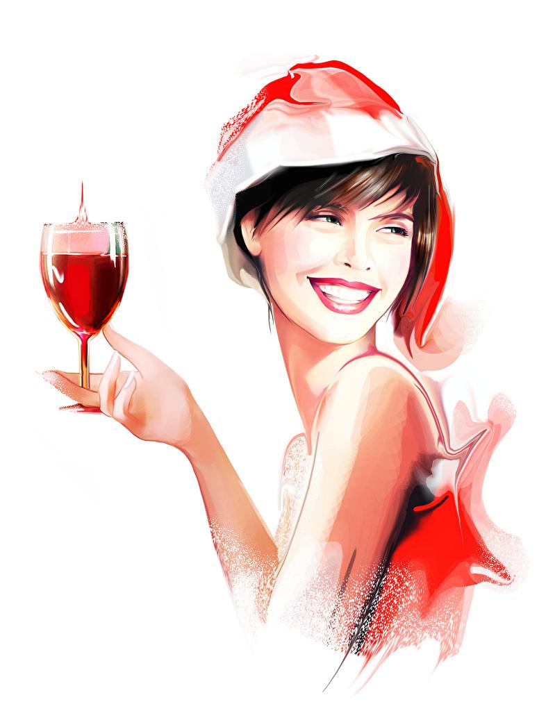 Фотография Улыбка Девушки бокал белом фоне Рисованные улыбается Бокалы Белый фон белым фоном