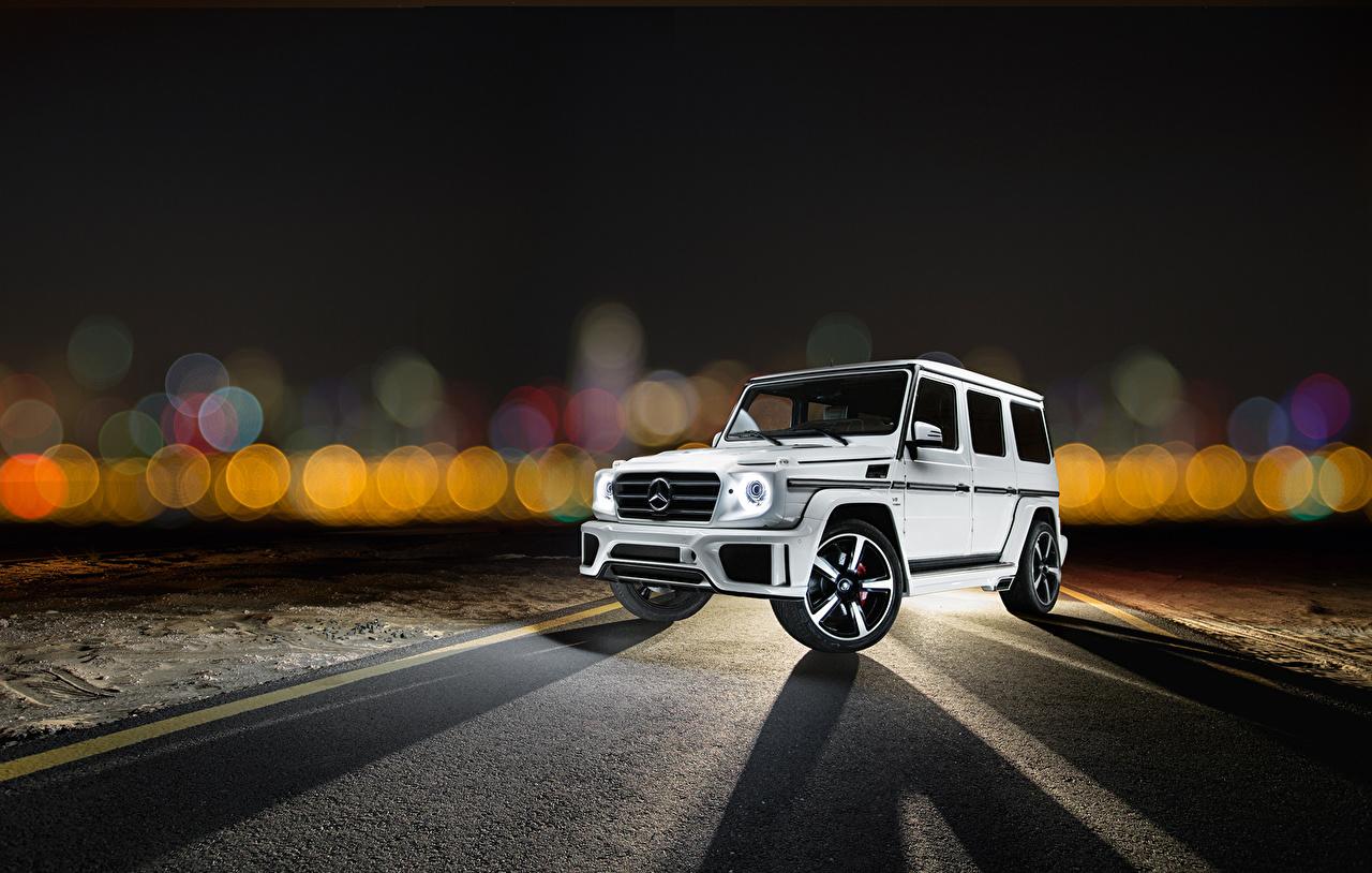 Фотография Машины Mercedes-Benz 2014 Ares Design G-Klasse W463 G-класс Белый Авто Автомобили Мерседес бенц Гелентваген