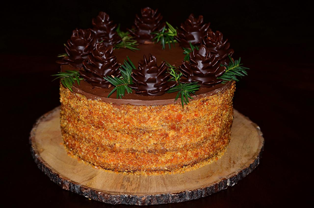Картинки Шоколад Торты Продукты питания Сладости Черный фон Дизайн Еда Пища дизайна