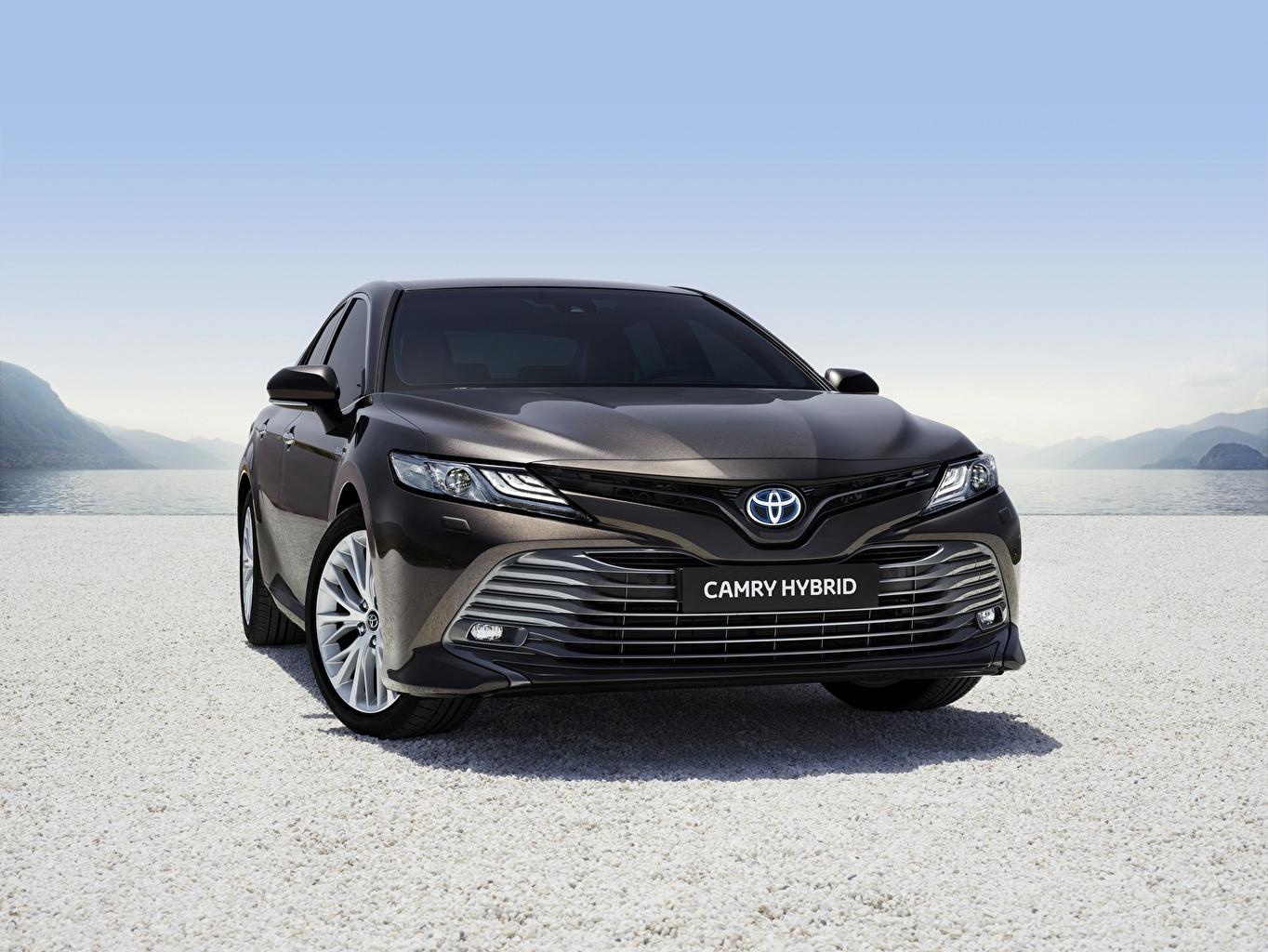 Обои для рабочего стола Тойота Camry Hybrid 2019 Гибридный автомобиль черные машина Спереди Toyota черных Черный черная авто машины автомобиль Автомобили