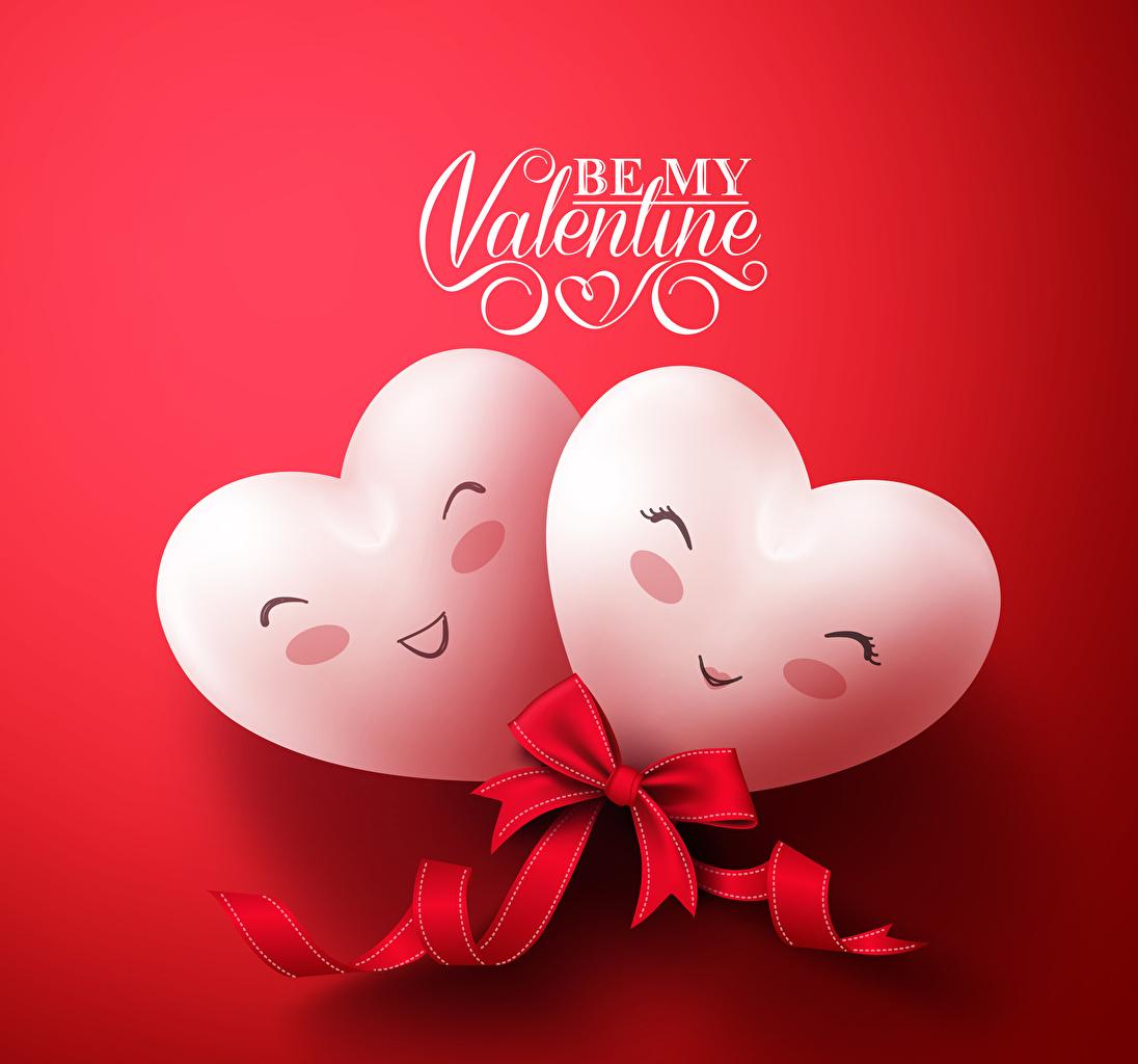 Картинки День всех влюблённых Английский сердечко Двое Бантик Красный фон День святого Валентина Сердце 2 вдвоем