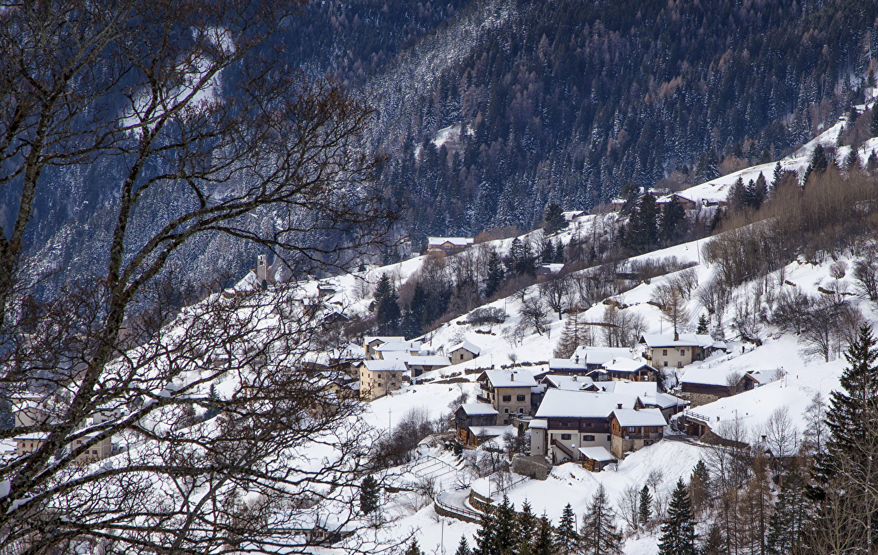Фото альп Италия Alta Badia Зима лес снеге Ветки Дома город Альпы зимние Леса Снег снега снегу ветвь ветка на ветке Здания Города