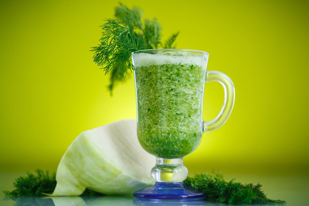 Картинки Капуста Укроп Чашка Овощи Коктейль Продукты питания Еда Пища