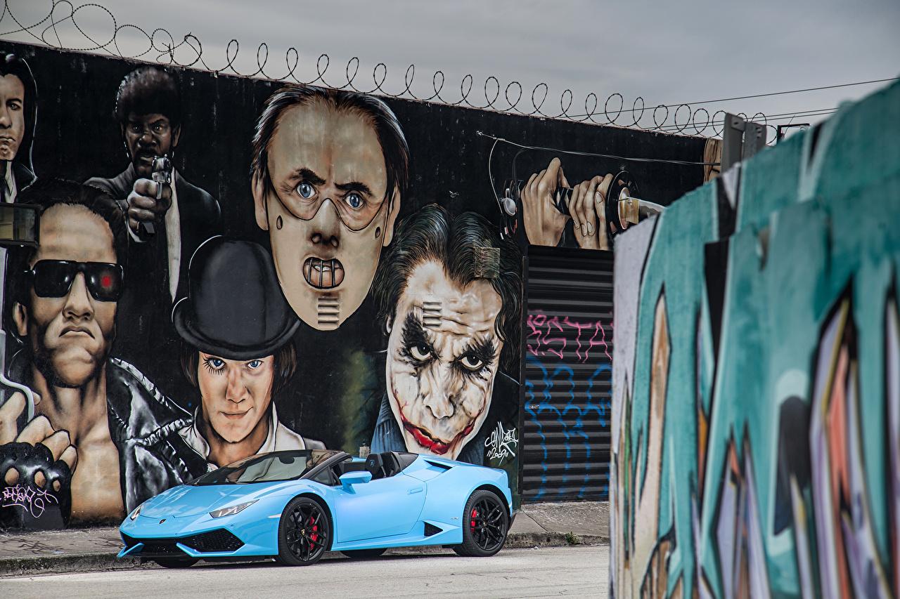 Фото Lamborghini 2015-16 Huracán LP 610-4 Spyder Кабриолет Голубой Граффити Металлик Автомобили Ламборгини кабриолета голубых голубые голубая Авто Машины
