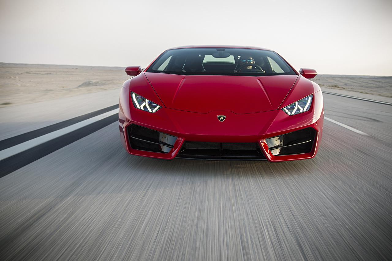 Фотографии Lamborghini Huracan LP 580-2 Красный едущий машины Спереди Ламборгини красных красные красная едет едущая скорость Движение авто машина автомобиль Автомобили