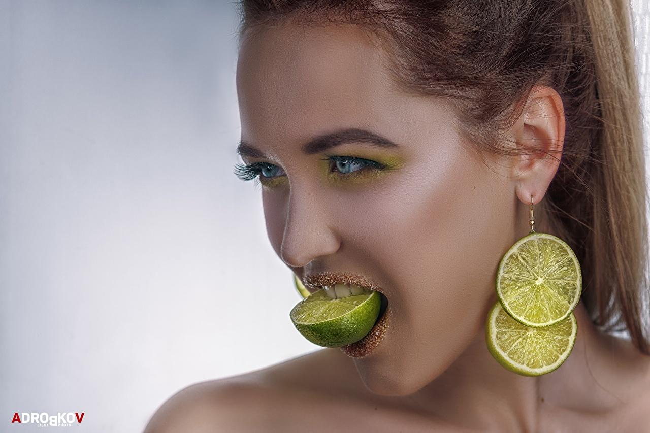 Фотография Макияж Alexander Drobkov-Light Лайм Лицо Девушки Серьги Взгляд мейкап смотрит